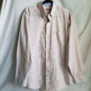 IZOD button down shirt orange blue white looks new
